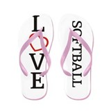 Big LOVE Softball Flip Flops