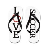 Big LOVE Soccer Flip Flops