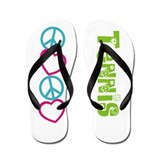 PEACE LOVE Tennis Flip Flops
