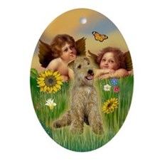 Cherubs & Lakeland Terrier Oval Ornament