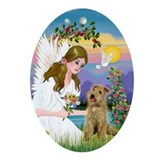 Angel and Lakeland Terrier Oval Ornament