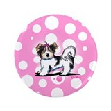 "Biewer Yorkie on Pink 3.5"" Button (100 pack)"
