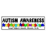 Aut Aware (Puzzle row) Bumper Stickers