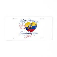 Ecuadorian Valentine's designs Aluminum License Pl