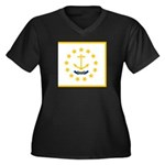 Rhode Island Women's Plus Size V-Neck Dark T-Shirt