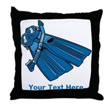 Diving Snorkel etc. And Text. Throw Pillow