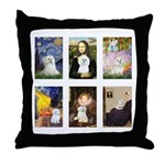 Maltese Famous Art (clr) Throw Pillow