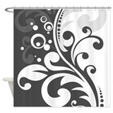 Gray White Floral Shower Curtain