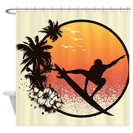Surfer Scene Shower Curtain
