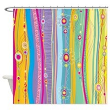Grey And White Striped Curtains Shower Curtains with Birds