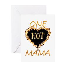 One Hot Mama-Flaming Heart Greeting Card