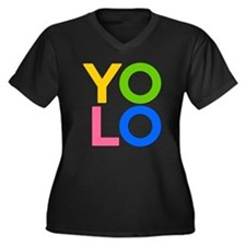 YOLO Women's Plus Size V-Neck Dark T-Shirt