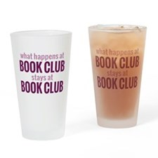 What Happens at Book Club Drinking Glass