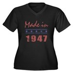 Made In 1947 Women's Plus Size V-Neck Dark T-Shirt