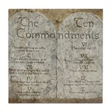 Ten Commandments 10 Laws Desi Tile Coaster