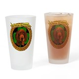 Irish Setter Celtic Shamrock Drinking Glass