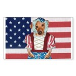 Dachshund Patriotic Dog Rectangle Sticker