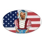 Dachshund Patriotic Dog Oval Sticker