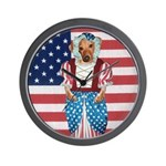 Dachshund Patriotic Dog Wall Clock