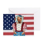 Dachshund Patriotic Dog Greeting Cards (Package o