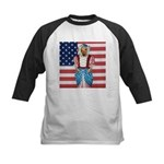 Dachshund Patriotic Dog Kids Baseball Jersey