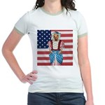 Dachshund Patriotic Dog Jr. Ringer T-Shirt