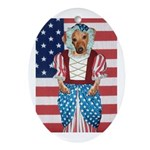Dachshund Patriotic Dog Oval Ornament