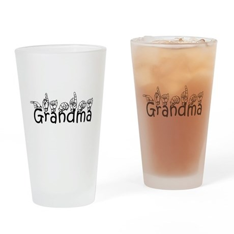 Grandma w/text Drinking Glass