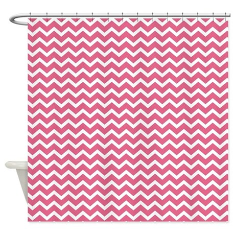 pink shevrons pattern shower curtain