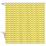 Yellow Chevrons Pattern Shower Curtain