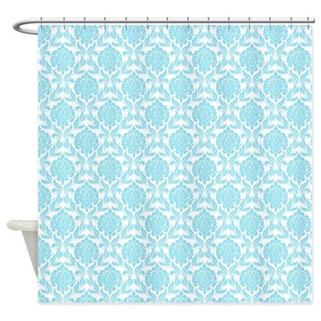 Blue Damask Pattern Shower Curtain