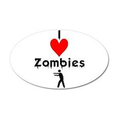 I Love Zombies 38.5 x 24.5 Oval Wall Peel