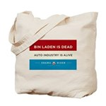 Bin Laden Dead, Auto Industry Alive Tote Bag