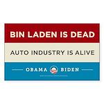 Bin Laden Dead, Auto Industry Alive Sticker (Recta