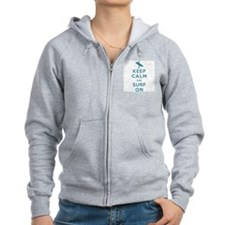 Keep Calm and Surf On Zip Hoodie