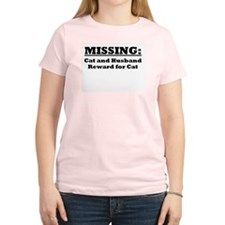 Missing...cat and husband Women's Pink T-Shirt