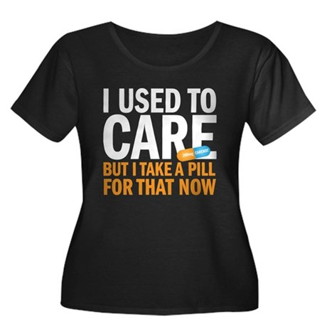 I used to care Women's Plus Size Scoop Neck Dark T