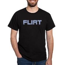 FLIRT (Blue) Black T-Shirt