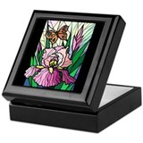 Stained Glass Iris & Butterfly Keepsake Box