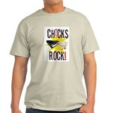 Chicks Rock (keyboard) Ash Grey T-Shirt