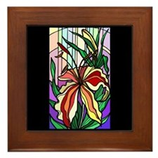 Stained Glass Lily Framed Tile