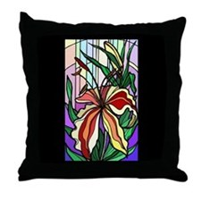 Stained Glass Lily Throw Pillow