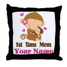 Personalized 1st Time Mom Monkey Throw Pillow