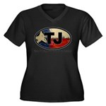 TJ THANG Women's Plus Size V-Neck Dark T-Shirt