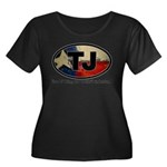 TJ THANG Women's Plus Size Scoop Neck Dark T-Shirt