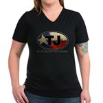 TJ THANG Women's V-Neck Dark T-Shirt