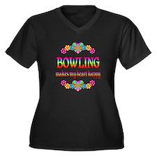 Bowling Happy Women's Plus Size V-Neck Dark T-Shir