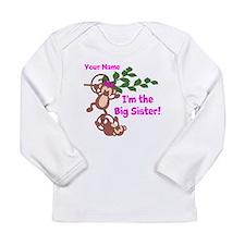 Big Sister Monkey Long Sleeve Infant T-Shirt
