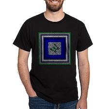 Blue Mood Butterfly Black T-Shirt
