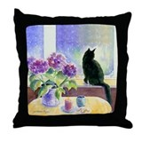 Black cat in window Throw Pillows